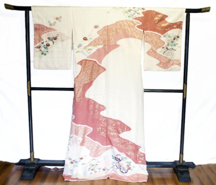 Vintage Silk Kimono, Japanese Houmongi Kimono,  All Seasons Design, Semi Formal Wear, For Sewing, or Display *Free Shipping* by KominkaFabricsJapan on Etsy
