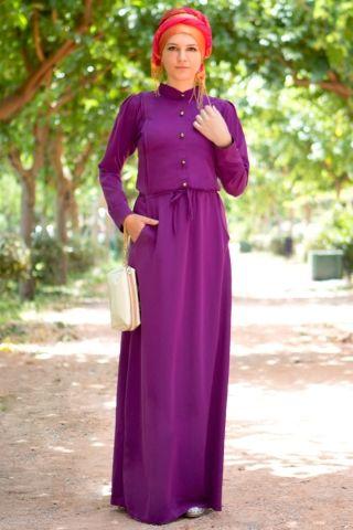 Aynil Moda Beli Büzgülü Elbise Mor