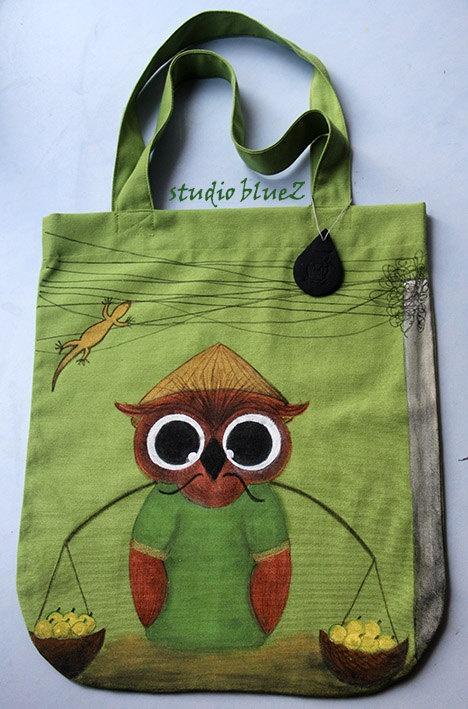 Handpainted Tote Bag  Vietnam  by zeyc on Etsy,
