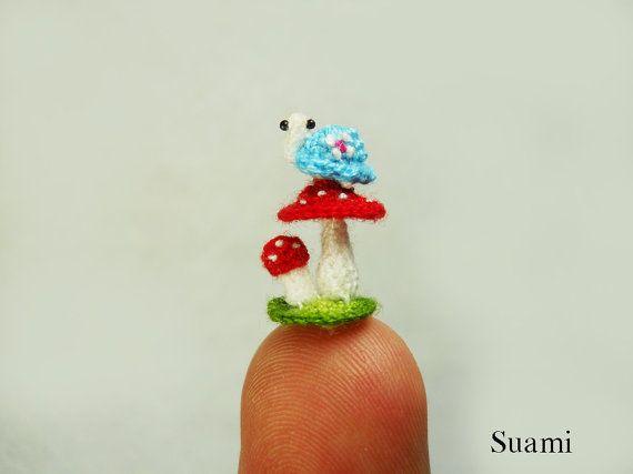 Micro Blue Turtle Red Mushroom - Tiny Crochet Miniature Tortoise - Made To Order via Etsy