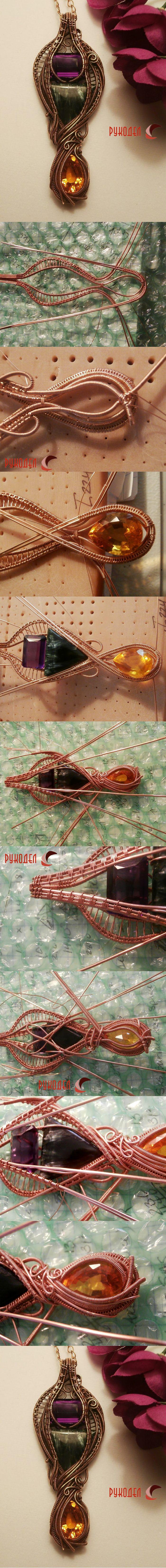 Сложная сборка подвески из медной проволокив технике Wire Wrapping . Используются кабошоны и кристалл. Начинающим сложно разобраться в процессе сборки. Но для ознакомления очень полезно посмотреть. Проволока для основы — медная 1, 1.2 мм. Проволока …
