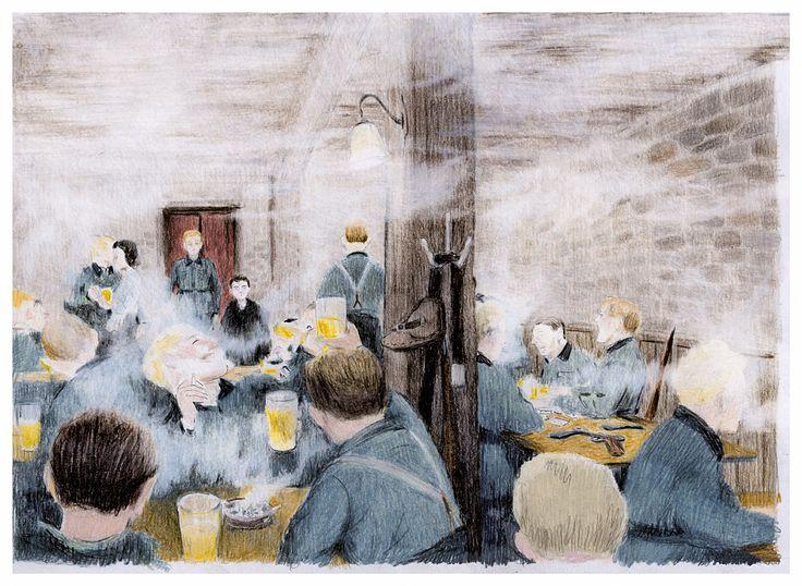 Eravamo davvero giunti nella tana del diavolo. Attraverso una spessa nube di fumo, scorsi un centinaio di soldati, i ratti dei miei incubi. Chiacchieravano, appoggiati a lunghi tavoli, liberi dagli elmetti, le giacche abbandonate sulle sedie. Molti giocavano a  carte: tenendole in mano, prima di posarle sul tavolo, una carta alla volta, ridendo sguaiatamente. Nell'aria, l'odore di sudore stantio si mescolava al fumo delle sigarette, fumate o buttate a spegnersi per terra, e della birra.