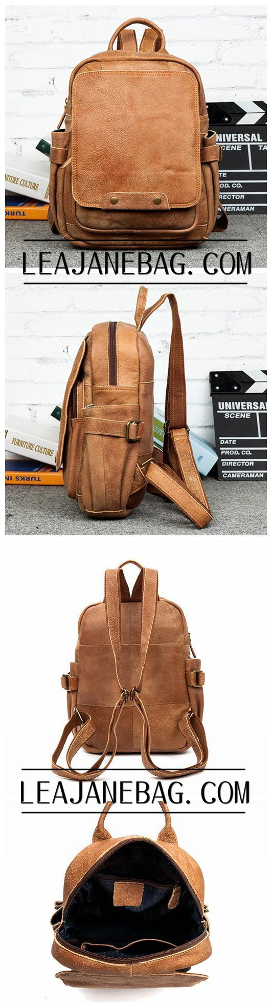 Leather Backpack Roll Top Backpack, Brown Leather Backpack, Laptop Backpack MS017