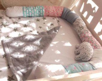 Little snake developmental soft toy, cute bed bumper,baby shower gift idea,baby crib bumper,snake pillow,baby cot bumper,long pillow