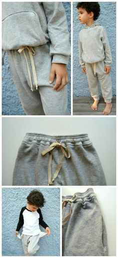 Retro Sweatpants Pattern - Free Pattern...  casual, sporty sweatpants for boys and girls.  Details include in seam side pockets, elasticized waistband with optional drawstring ties, and cuffed leg openings. ~ Elegance & Elephants