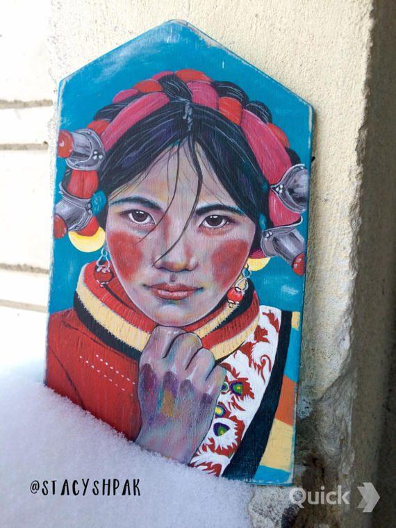 Stacy Shpak Original Tibetan girl portrait painting от Stacyshpak