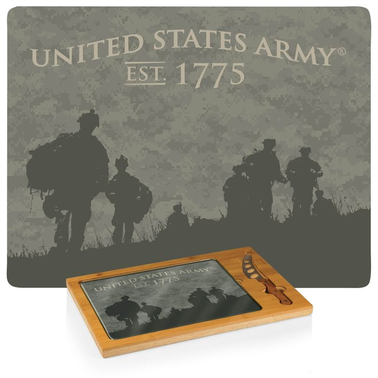 The Soldier Silhouettes Icon US Army Cheese Board is a 3-piece set with solid rubber wood base, bamboo rim, tempered glass lid, and a cheese knife. Great gift.   Visit SportsFansPlus.com for Details.