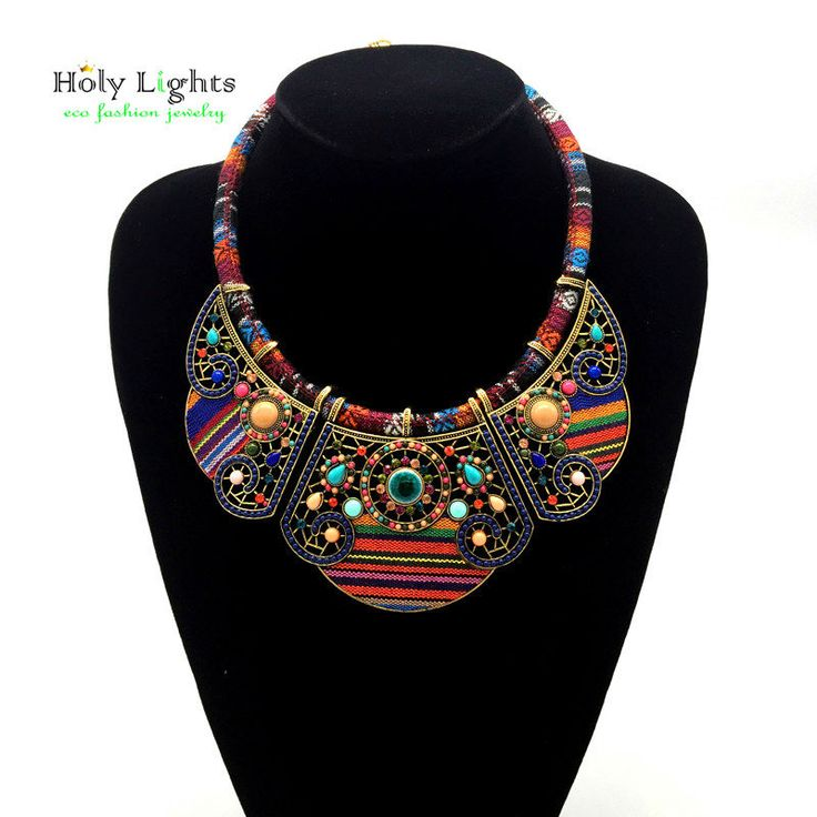 CHIC*MALL Fashion Women Bohemia Pendant Charm Chain Choker Chunky Statement Bib Necklace (colorful) BUwQbSP