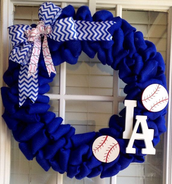 La Dodgers wreath - Blue burlap Wreath - MLB Wreath on Etsy, $65.00