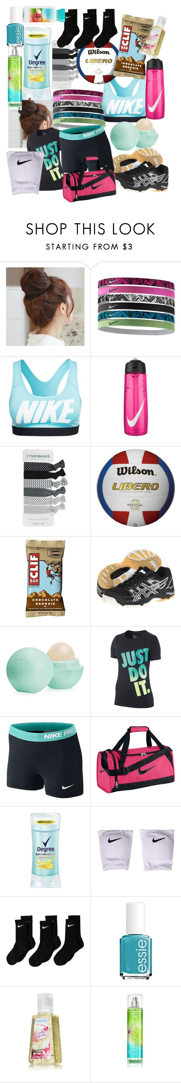 """Volleyball Practice/Camp"" by emmarcausey ❤ liked on Polyvore featuring Pin Show, NIKE, Asics, Eos, Degree and Essie"