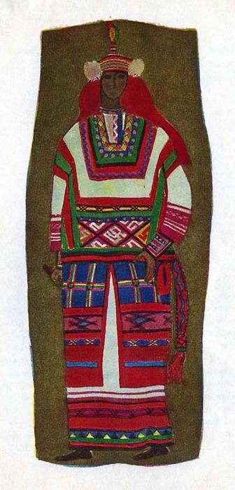 Костюм крестьянки Пензенской губернии.Костюм состоит из домотканых рубахи c «подолом» (длинная рубаха, богато орнаментированная внизу), шушпана, надетого поверх рубахи и распашной паневы. Поверх паневы надевался шерстяной узорный пояс. Головной убор сложный с фатой из кумача. Обруч головного убора, расшитый серебряной нитью и цветной шерстью, заканчивается кисточкой из разноцветных перьев.