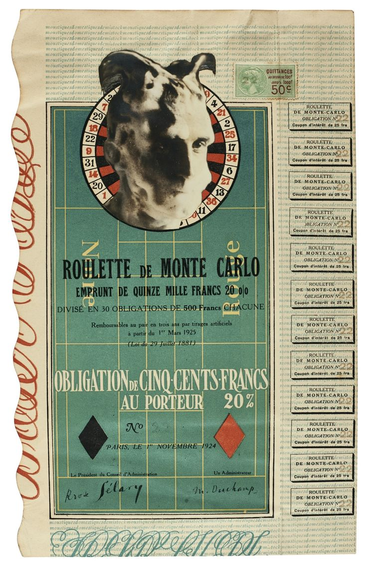 By Marcel Duchamp MONTE CARLO BOND (NO. 22). Imitated Rectified Readymade: photocollage on letterpress Creation Date 1924