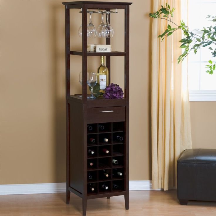 Winsome 18 Bottle Espresso Wine Tower And Gl Holder 92567