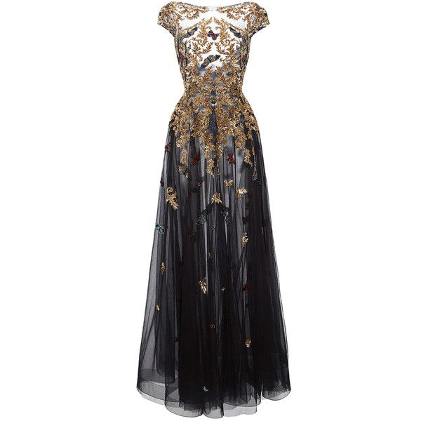 Zuhair Murad Gold Threadwork Gown ($9,830) ❤ liked on Polyvore featuring dresses, gowns, beaded evening gowns, beaded evening dresses, sleeve dress, boat neck dress and gold beaded gown