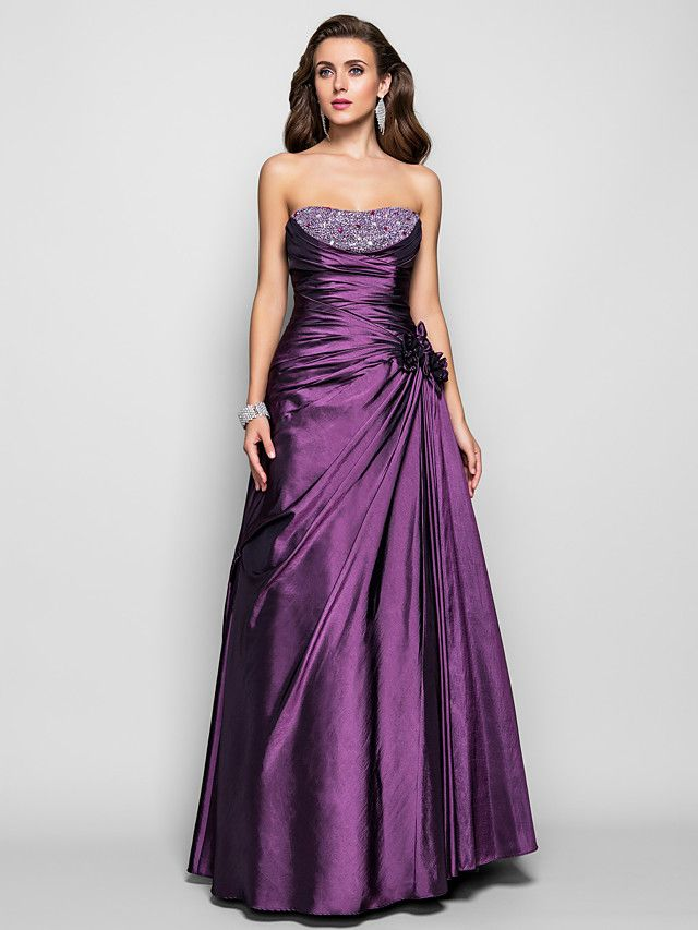 TS Couture® Prom / Formal Evening / Military Ball Dress - Open Back Plus Size / Petite A-line / Princess Strapless Floor-length Taffeta with Beading - USD $169.99