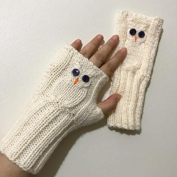 Fingerless Gloves Owl Owl Gloves Knit Fingerless gloves