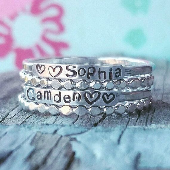 Sterling Silver Stackable Name Rings Stackable by ChandysCreations