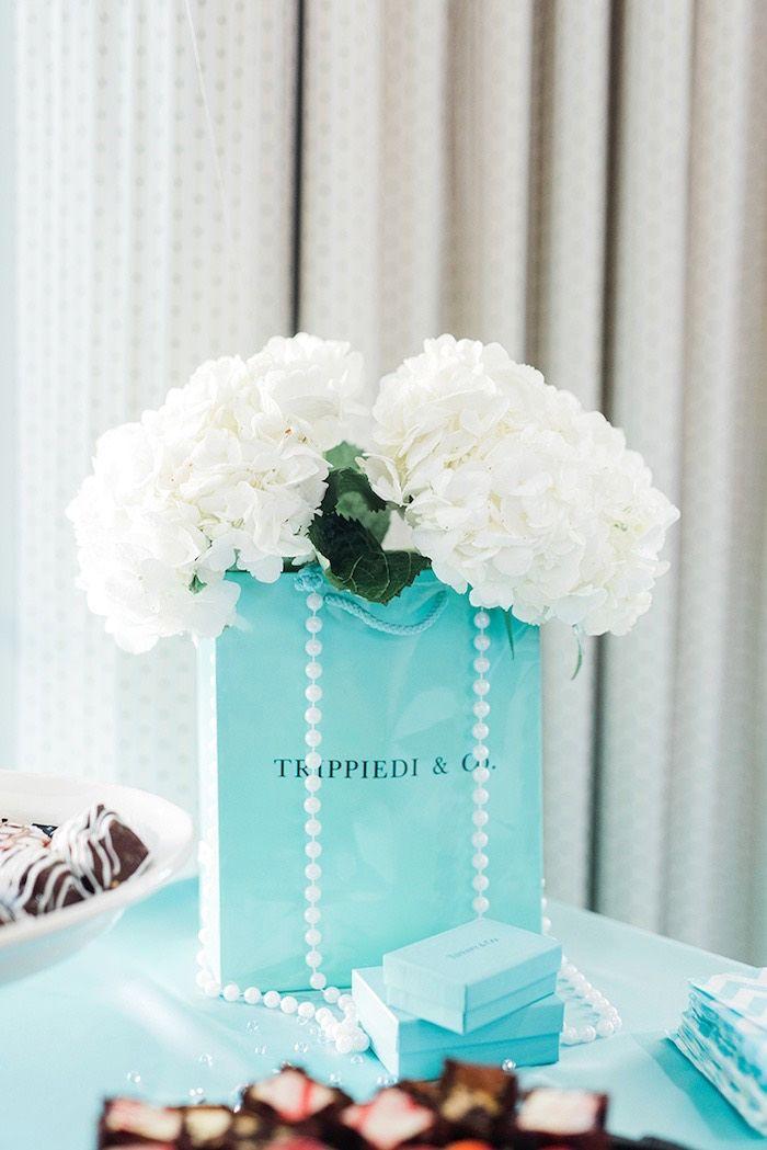 517284a8475c Custom blue bag floral arrangement from a Tiffany   Co. Bridal Shower on Kara s  Party Ideas