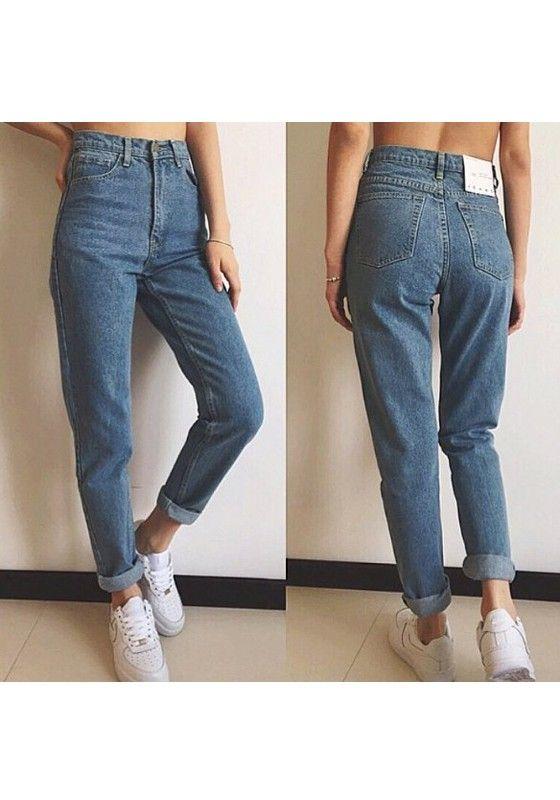 Hellblaue Taschen knöpft hoch taillierte Boyfriend Slacks Mom Long Jeans