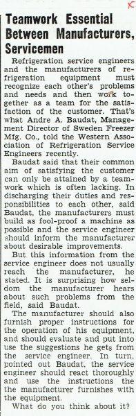 THROWBACK THURSDAY: Teamwork essential between manufacturers and servicemen
