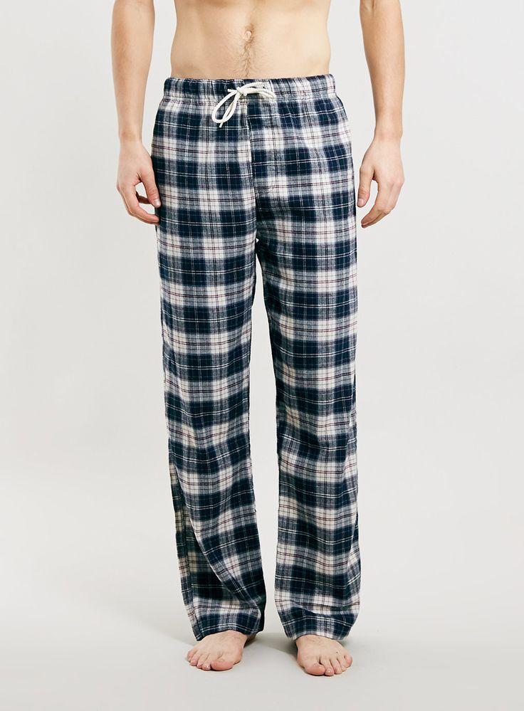 Pantalon de pyjama gris en flanelle à carreaux - Pyjamas et Tenues d'Intérieur Homme - Vêtements - TOPMAN FRANCE