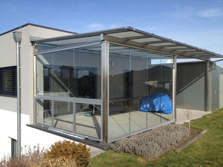 Moderne Terrassenüberdachung Mit Schiebetür Und Schiebefenster