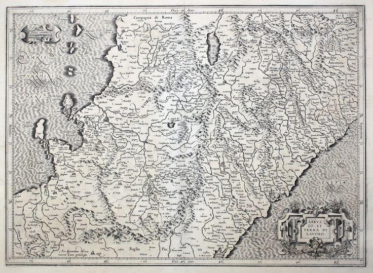 """Abruzzo et Terra di Lavoro. (Amsterdam 1619).  Carta geografica dell'Abruzzo, tratta dalla parte del Atlas del Mercatore """"Italia Sclavonia et Greciae Tabula Geographicae"""" pubblicata ad Amsterdam da H. Hondius nel 1619. Al verso testo in Francese. Koeman, Me26A."""