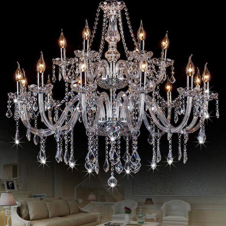 Iluminación moderna Lámpara de Cristal de Lujo Lámparas De Cristal Transparente Lámpara de Luz Suspendidos Lustres de cristal de la Lámpara de Iluminación del Hotel