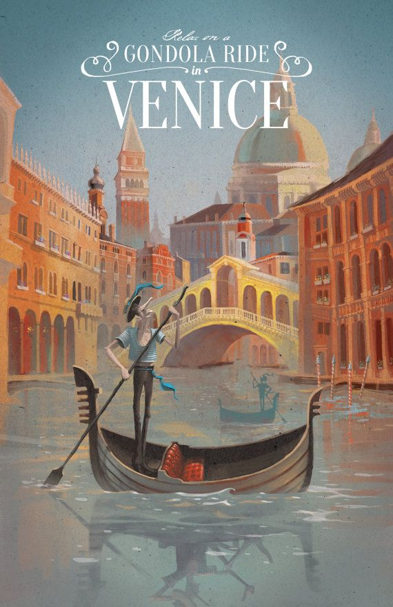 Retro Venice Travel Poster by DreamMachinePrints on Etsy