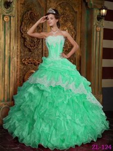 Lovely Apple Green Ruffled Sweet 15 Dresses with Pick-ups