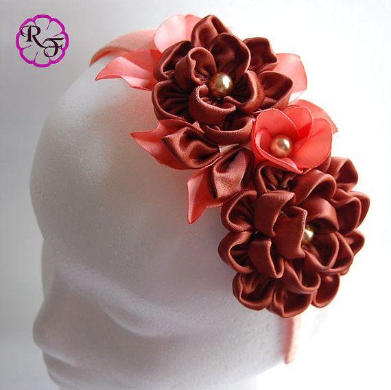 Kanzashi flowers Brown flowers Headband  Kanzashi by RainOfFlowers