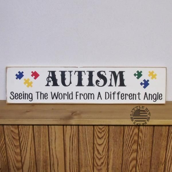 Autism Seeing The World From A Different Angle, Hand Painted Wood Sign, Autism Awareness, Autism Signs, Parents of Children With Autism, Puzzle Pieces