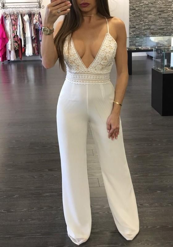 e6c29fc05287 White Patchwork Lace Cross Back Spaghetti Strap High Waisted Oversize Long  Jumpsuit