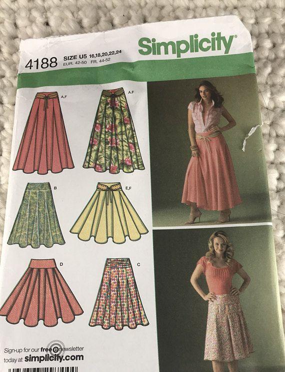 Simplicity Creative Patterns Misses Vintage 1970s Skirts Size U5 16-18-20-22-24