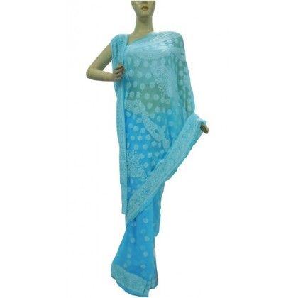 Chiffon Saree Lucknow Chikan (QTKH0965)