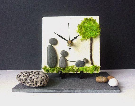 Pebble Desk Clock Beach Nautical Clock Natural by NaturalClocks