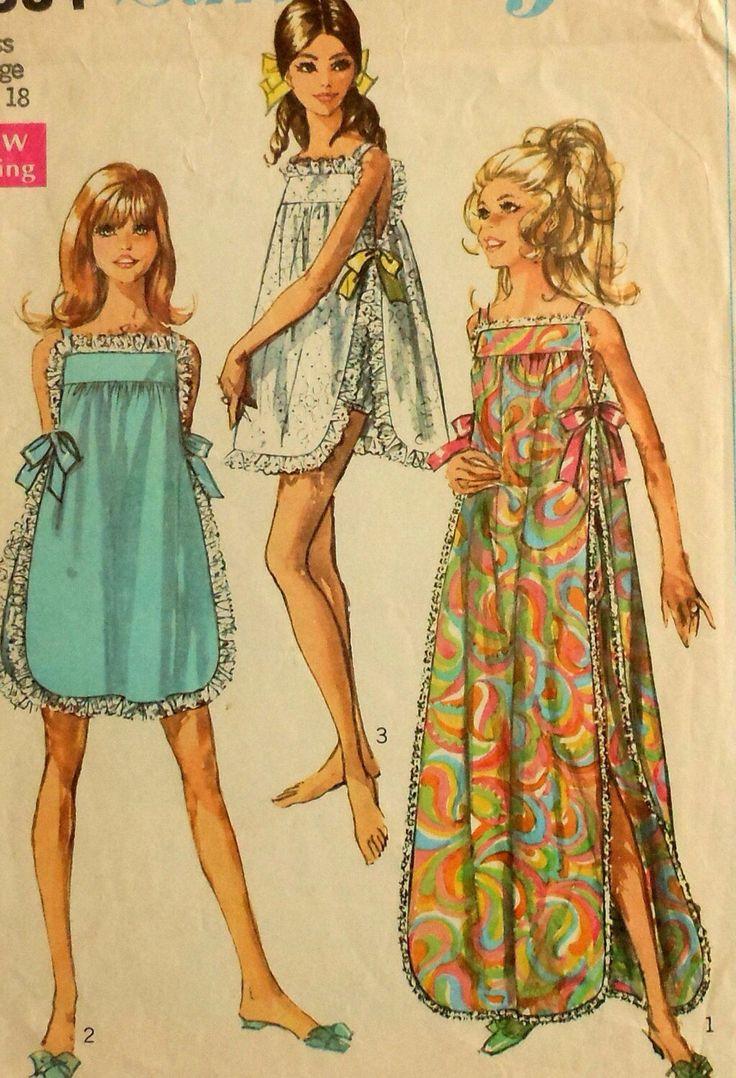 Teen nightwear patterns from 60s