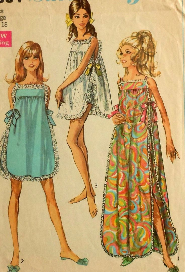 Teen nightwear patterns from 60s