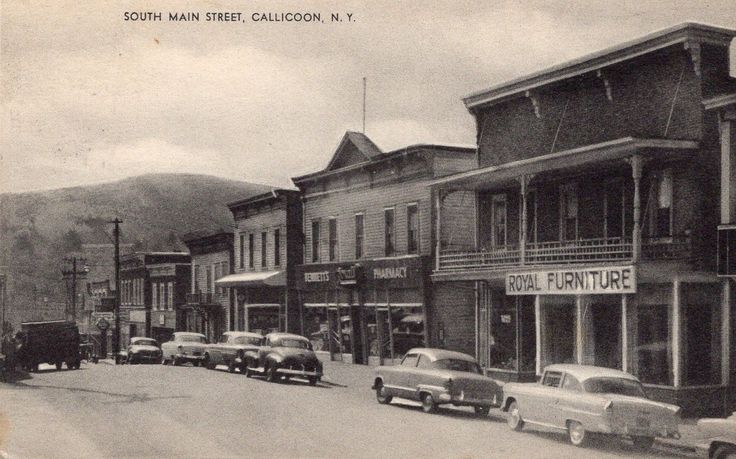 1955 Callicoon NY S. Main Street B&W 50s Autos Royal Furniture Bennetts Pharmacy