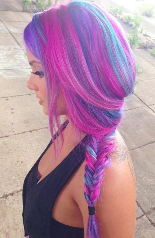 Pink, blue & purple hair, braided in fishtail, looks amazing x