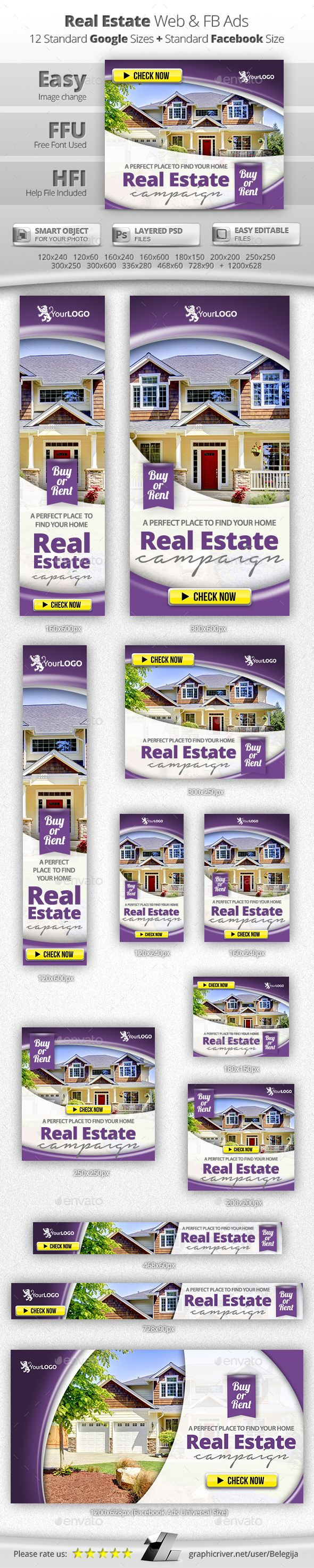 Real Estate Web & Facebook Banners Template PSD #ads #design Download: http://graphicriver.net/item/real-estate-web-facebook-banners/13305447?ref=ksioks