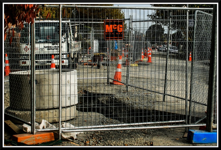 Post EQ road works in Linwood. Most of this kind of work is to fix the sewer pipes that are broken all over Christchurch.