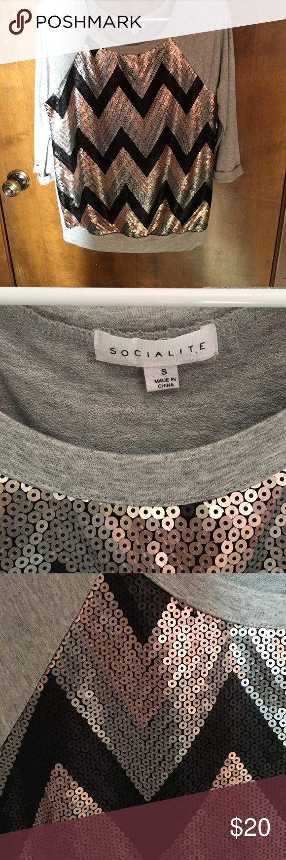 Socialite herringbone sequin top! Beautiful 3/4 length Herringbone sequin top. Sequins are black, silver and rose gold. Brand new condition! Only worn once for a feed hours. Purchased from Nordstrom rack. Non sequin part of shirt is basic grey tee shirt material. Socialite Tops