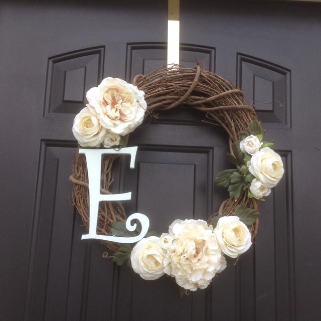 Monogrammed front door wreath