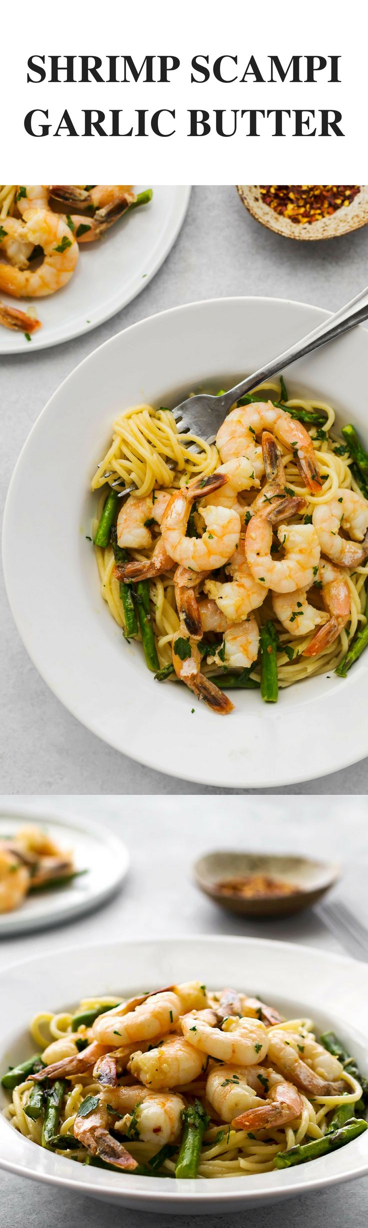 Garlic Butter Shrimp Scampi with pasta and asparagus recipe! If you are looking for easy recipes or tasty Italian pasta recipes, this Shrimp Scampi recipe is for you #StoredBrilliantly #ad