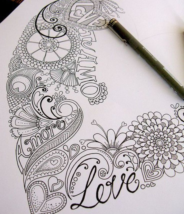 Zentangle valentine 39 s day ideas random pinterest for Random sketch ideas