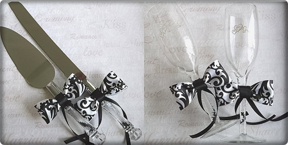 Damask Weddings Cake Server and Cutter and Champagne Toasting Flutes
