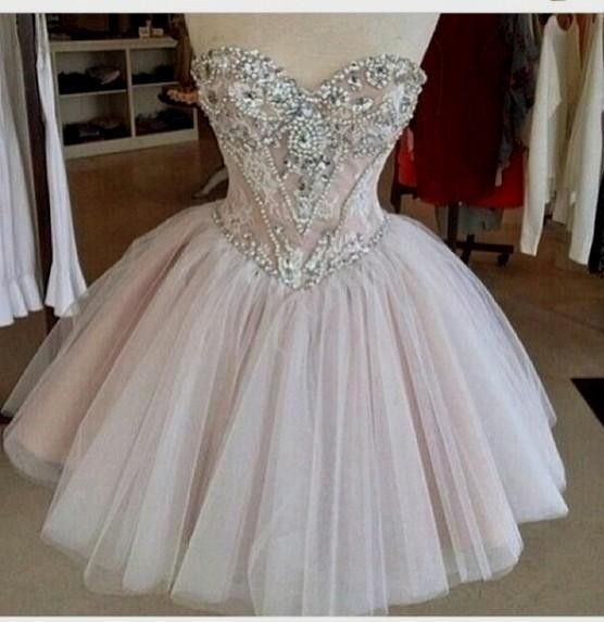 2016 Charming Homecoming Dress,Blush Pink Prom Dress,Beading Ball Gown For Teens