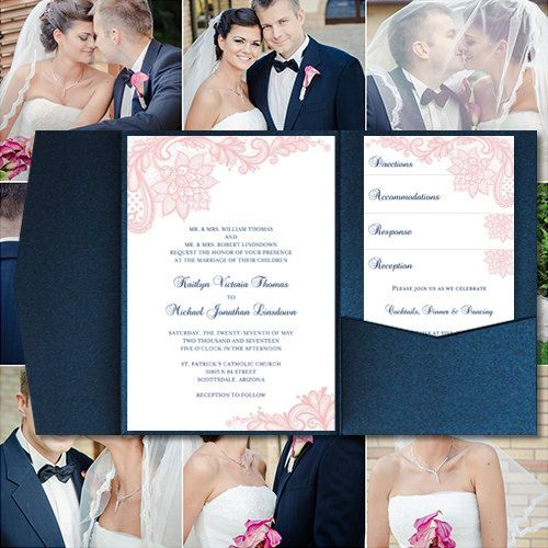 """Pocket Fold Wedding Invitations """"Vintage Lace"""" Blush Pink & Navy Blue Printable Templates Make Your Own Invitations Any Color DIY You Print"""