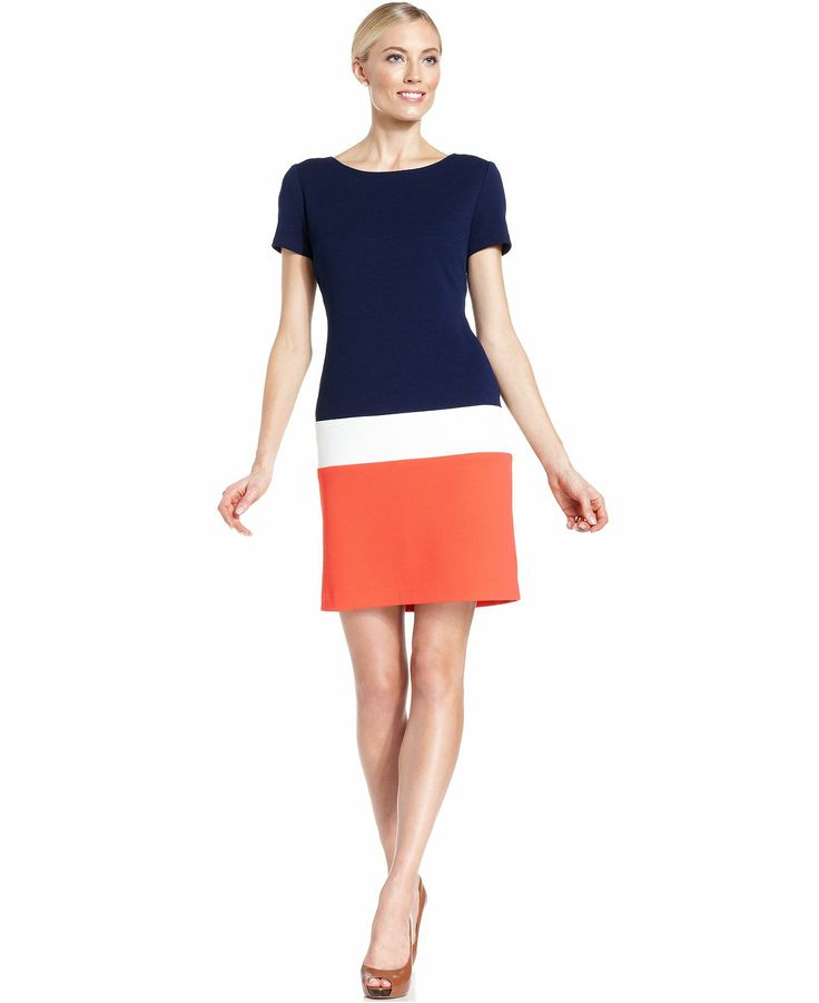 Ronni Nicole Short-Sleeve Colorblock Dress - Dresses - Women - Macy's